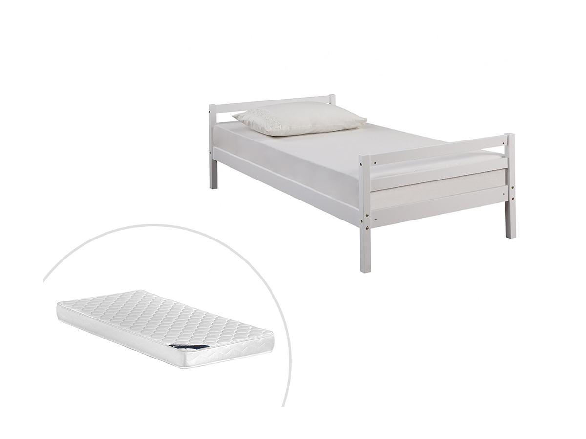 Bett LIAM - 90x190cm - Weiß + Matratze