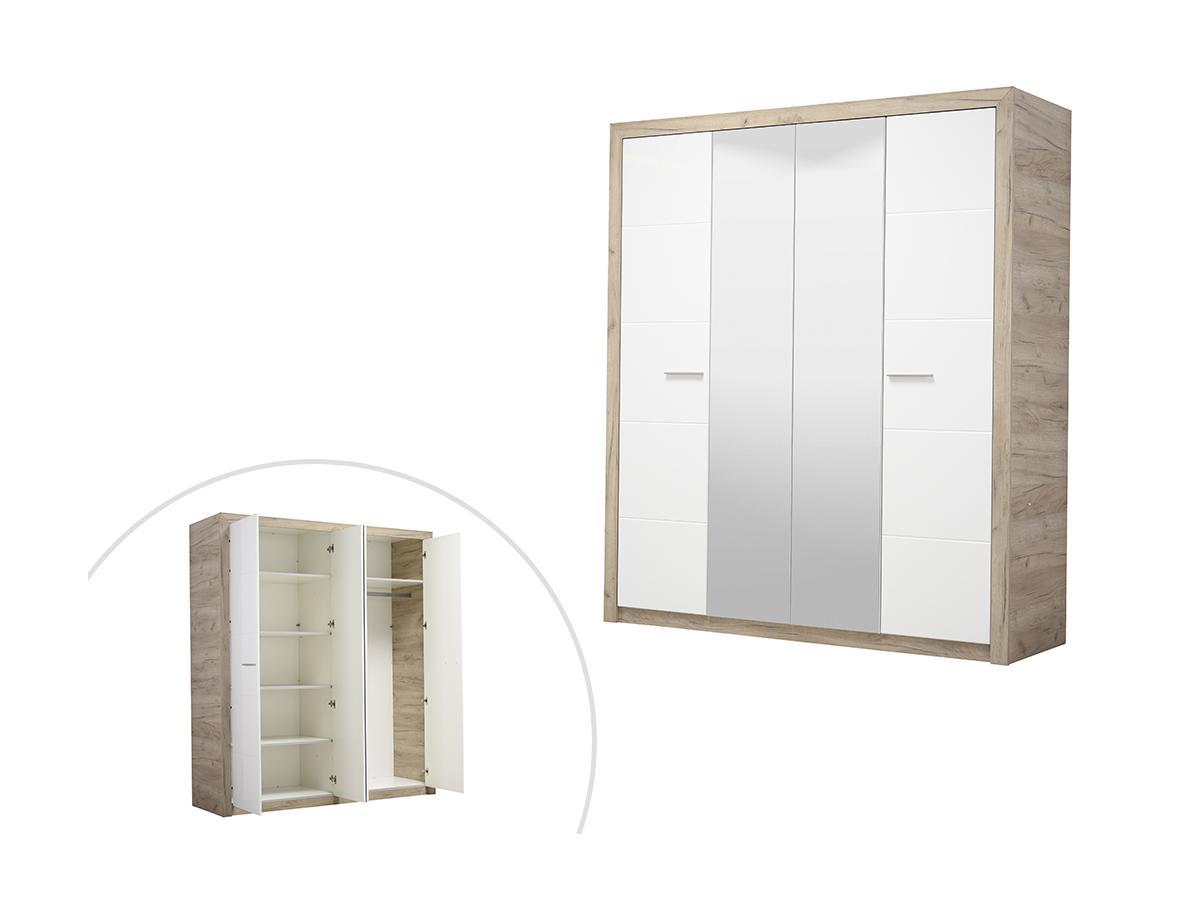 Kleiderschrank mit Spiegel SALYAN - 4 Türen - B. 179 cm - Eiche & Weiß