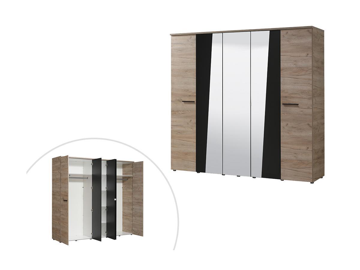 Kleiderschrank mit Spiegel FAVARA - 5 Türen - B. 223 cm - Eiche & Schwarz