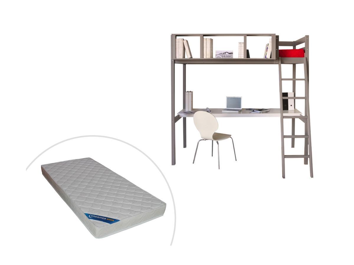Hochbett mit Schreibtisch GIACOMO - 90 x 190 cm + Matratze