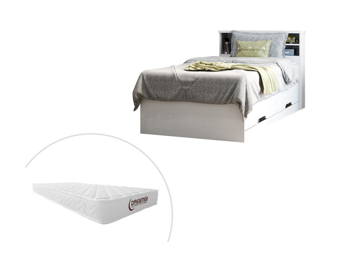 Bett mit Bettkasten BORIS - 90x190 cm - Weiß + Matratze