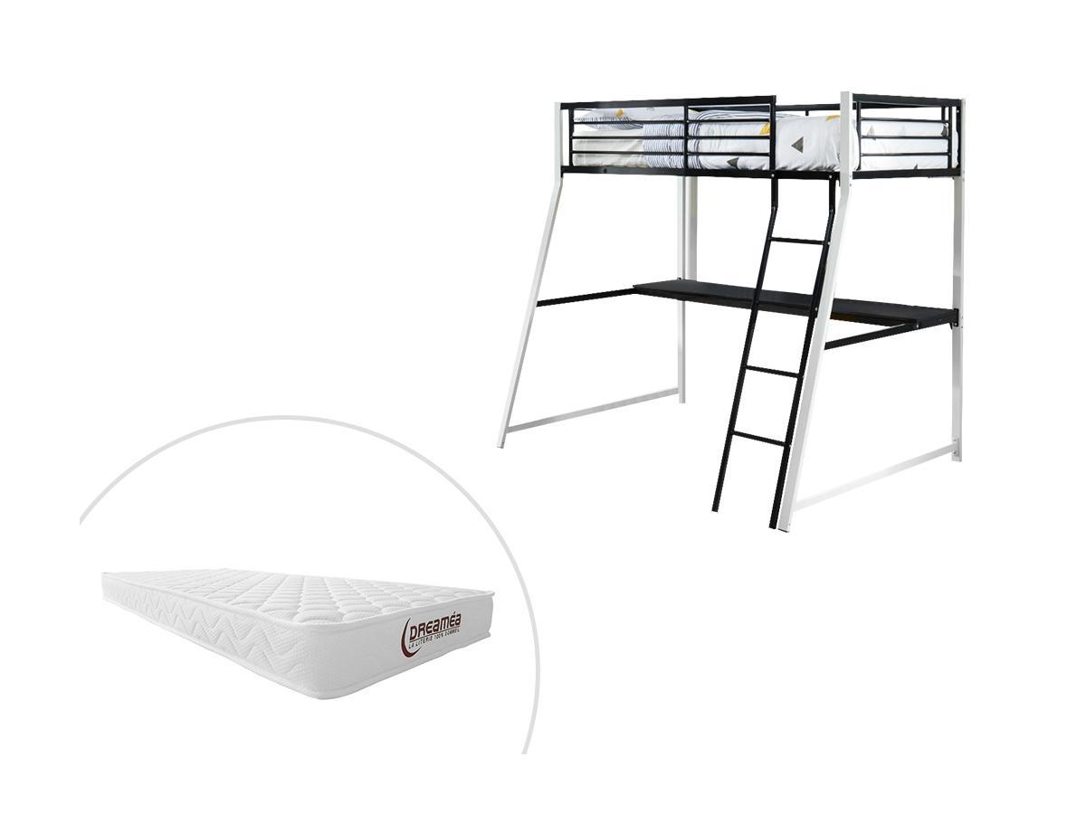 Hochbett mit Schreibtisch MALICIA - 90x190 cm - Schwarz & Weiß + Matratze