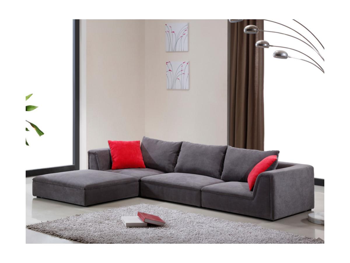 Ecksofa Stoff Houston - Niedrige Sitzhöhe: 24 cm - Grau