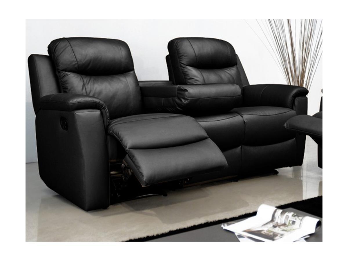 Relaxsofa Leder 3-Sitzer Evasion - Schwarz