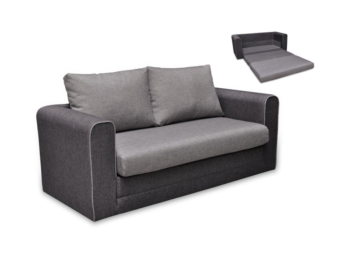 Schlafsofa 2-Sitzer DONAU - Stoff - Grau & Anthrazit