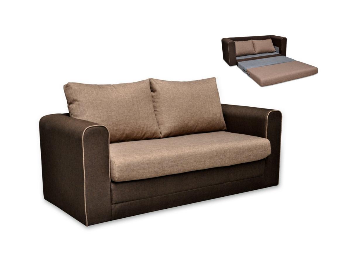 Schlafsofa 2-Sitzer DONAU - Stoff - Beige & Braun