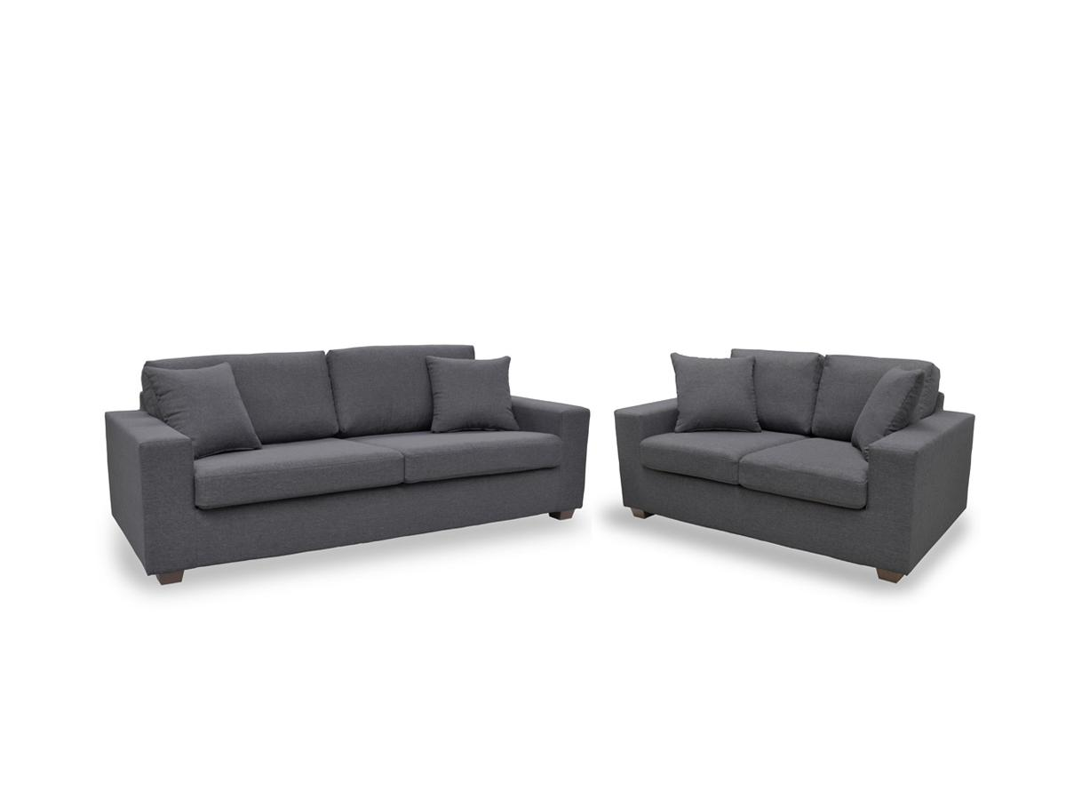 Kauf-Unique Couchgarnitur Stoff Yudo 3+2 - Grau 65970