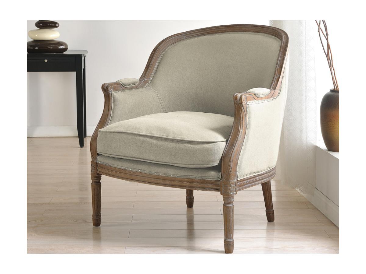 Kauf-Unique Sessel Stoff Barock Alienor - Beige 84157