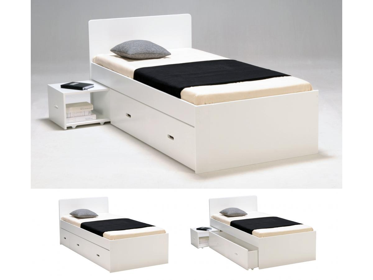 Kauf-Unique Bett mit Bettkasten PACOM - 90x190cm - Weiß 148185