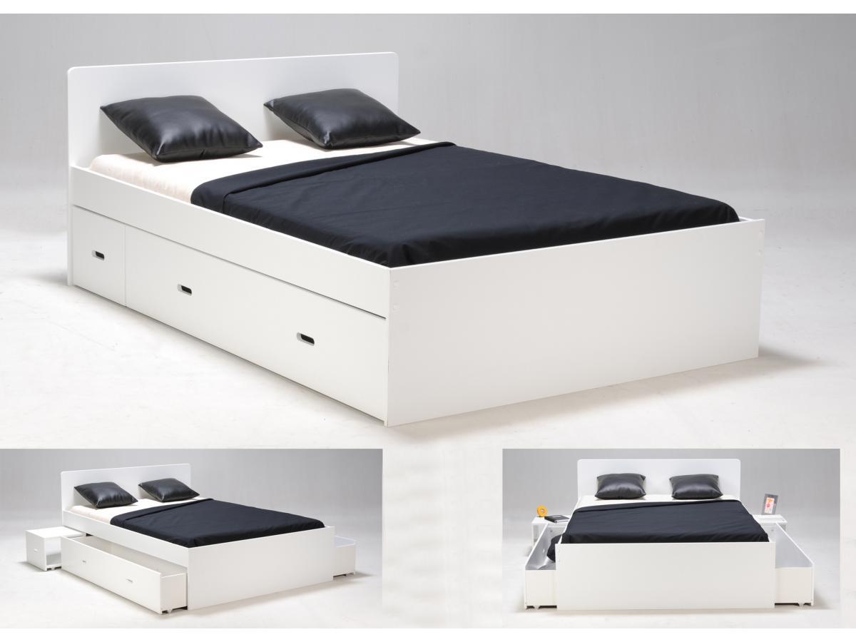 Bett mit Bettkasten PACOM - 140x190cm - Weiß