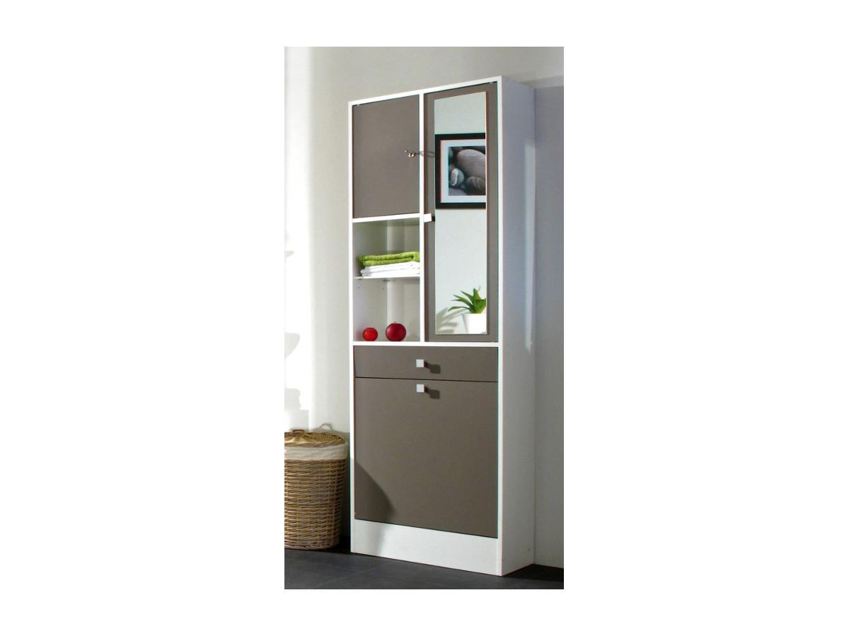 Kauf-Unique Badezimmerschrank mit Wäschekippe Plizz - Taupe 88708