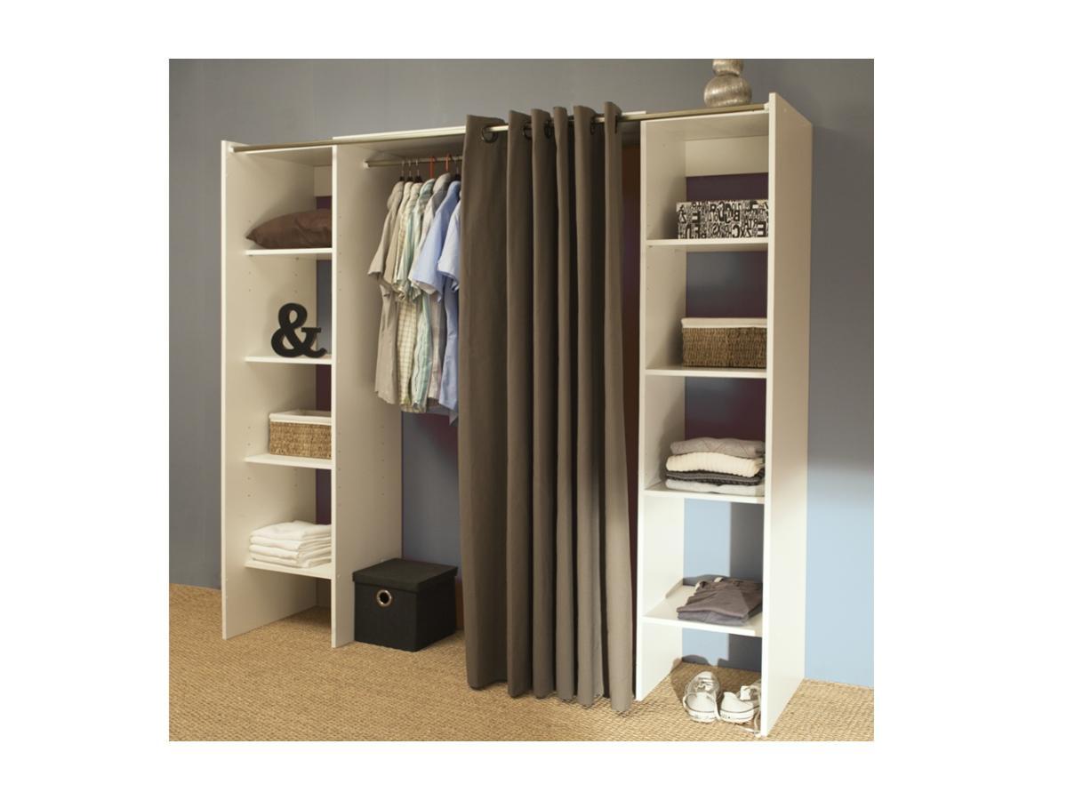 Kauf-Unique Kleiderschrank Kleiderschranksystem Emeric - Weiß & Taupe 134535