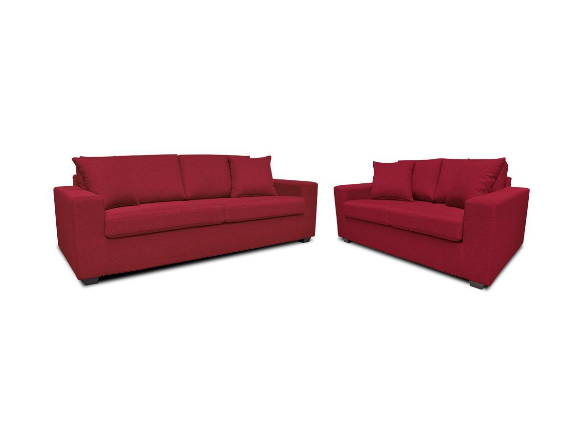 Kauf-Unique Couchgarnitur Stoff Yudo 3+2 - Rot 90680
