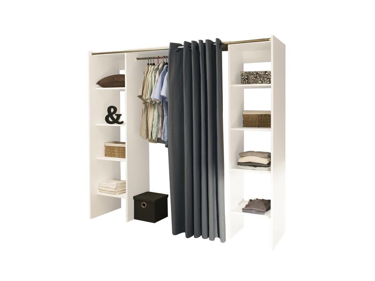 Kauf-Unique Kleiderschrank Kleiderschranksystem Emeric - Weiß & Anthrazit 150078