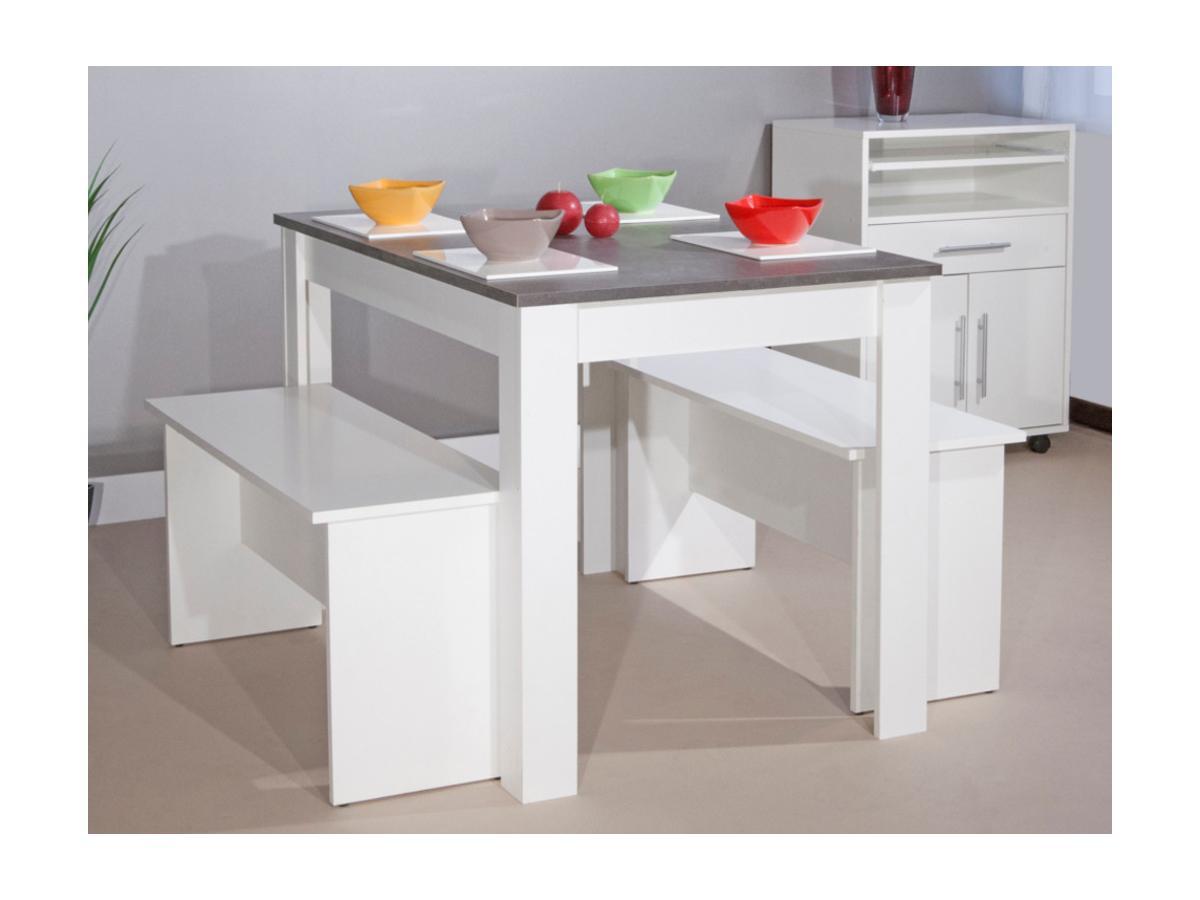 Essgruppe Bastien: 1 Tisch & 2 Bänke - Grau
