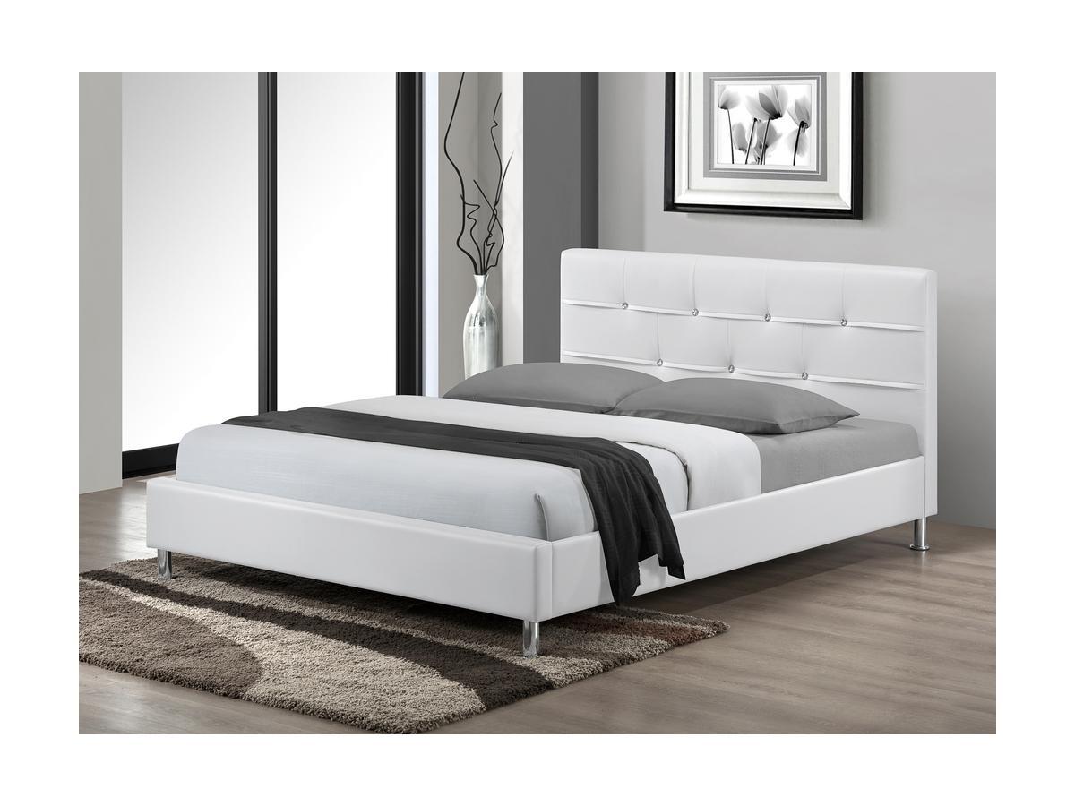 Polsterbett Strass Gabin - 140x200 cm - Weiß