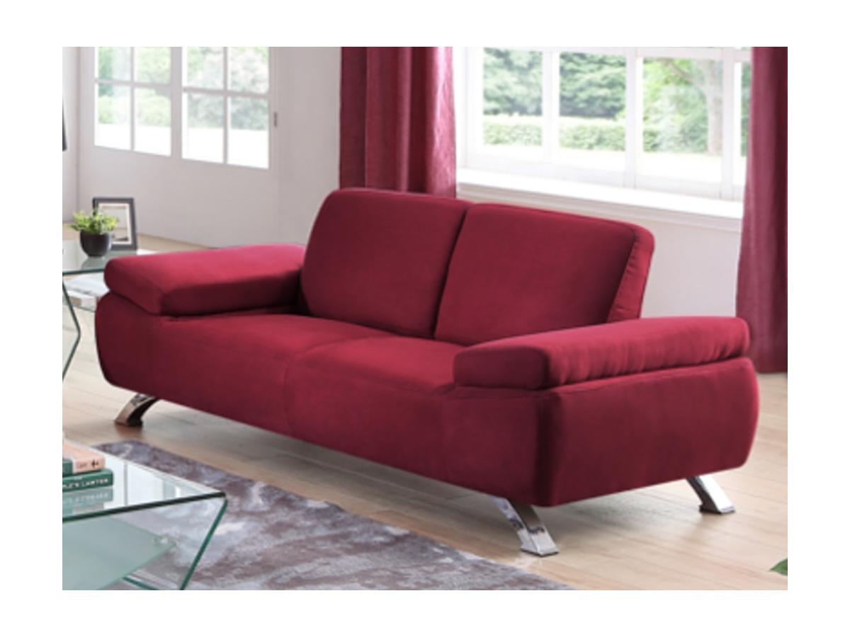 2-Sitzer-Sofa Microfaser Polka - Rot