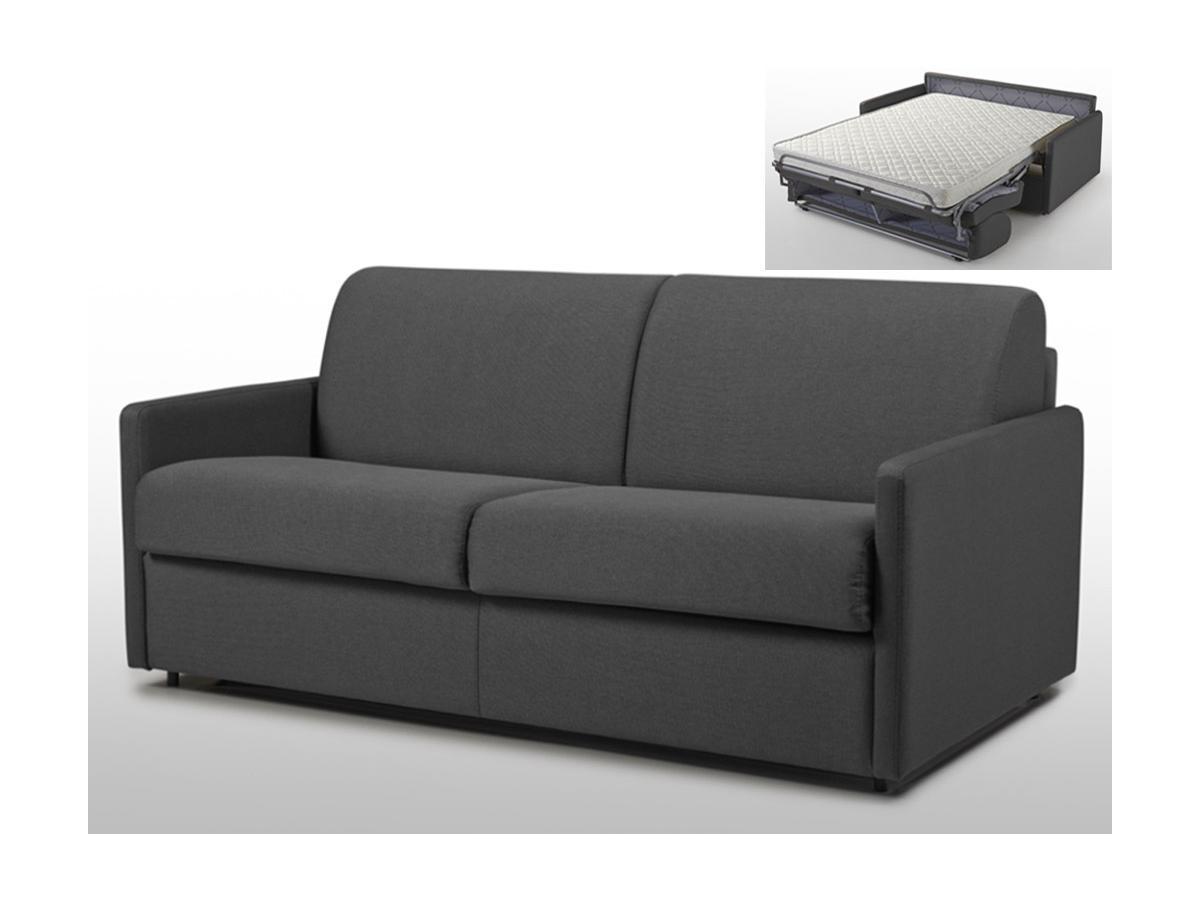 Schlafsofa 3-Sitzer CALIFE - Stoff - Grau - Liegefläche: 140 cm - Matratzenhöhe: 14cm
