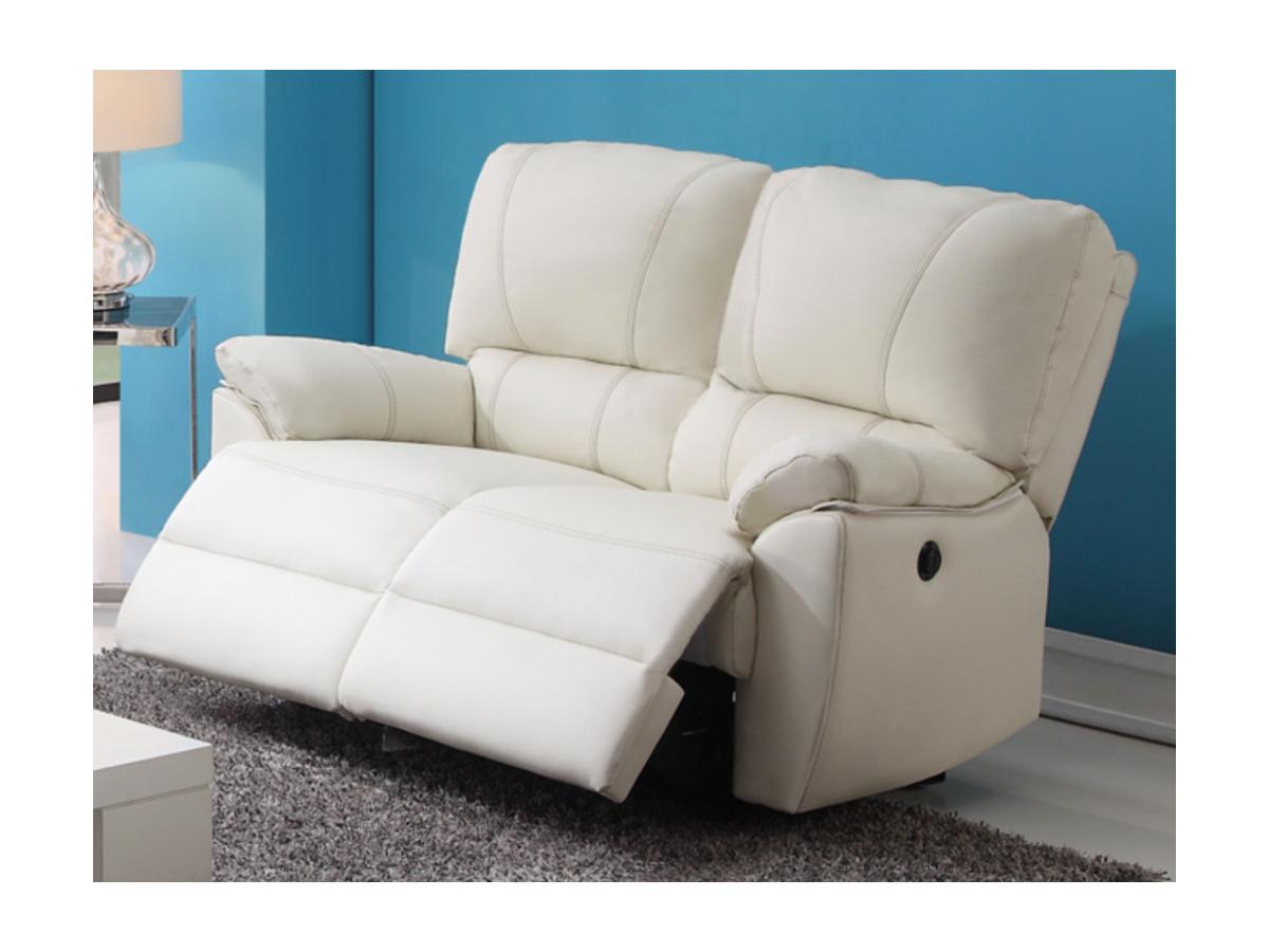 Relaxsofa 2-Sitzer Leder elektrisch Marcis - Elfenbein
