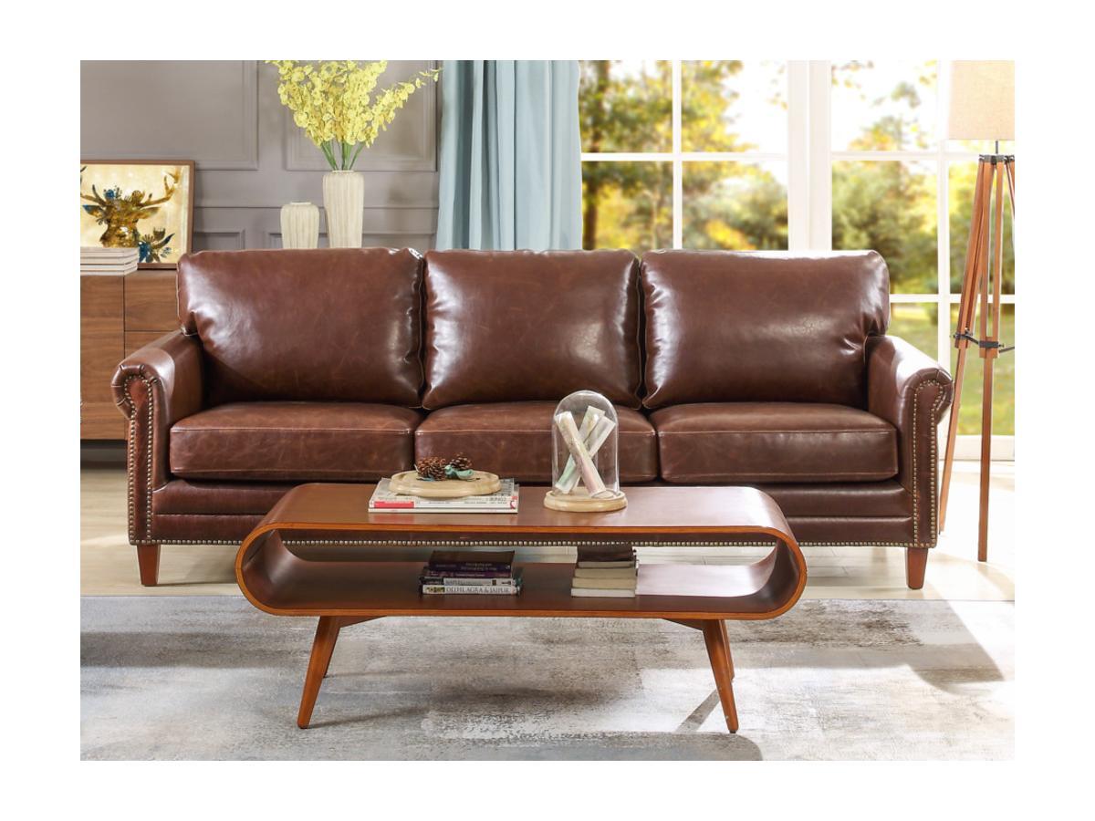 Kauf-Unique Ledersofa Vintage 3-Sitzer CASSANDRA - Braun 282543