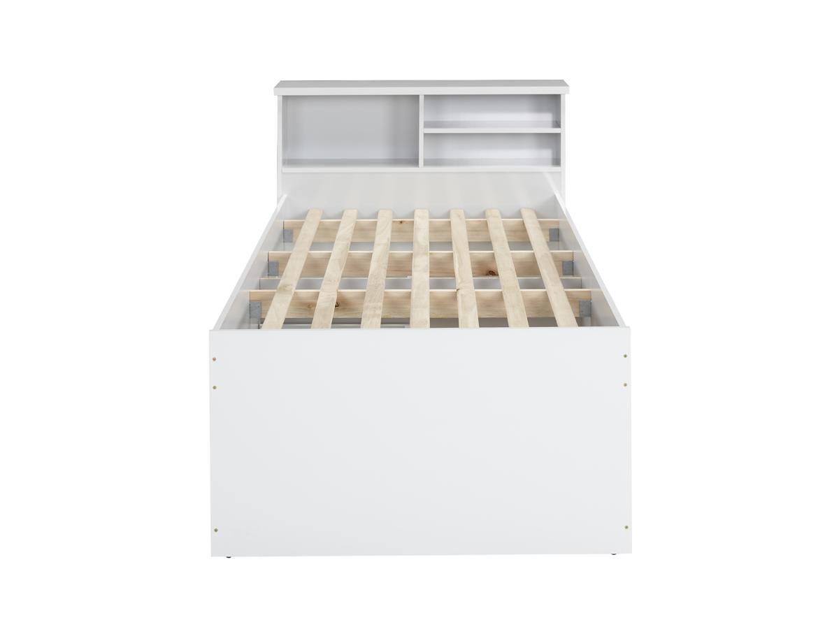 Kauf-Unique Bett mit Bettkasten BORIS + Lattenrost - 90x190cm - Weiß 258633