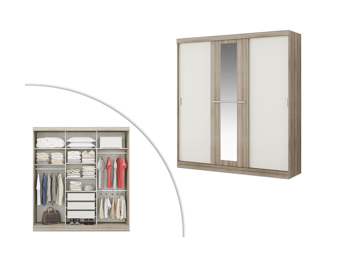 Kleiderschrank DIDDA - 3 Schiebetüren - Eiche & Elfenbein