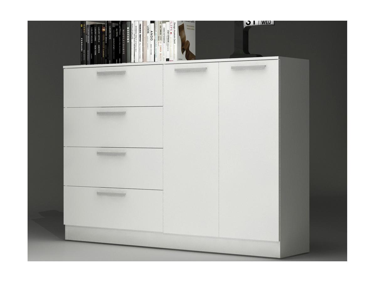 Sideboard Mathias - 4 Schubladen + 1 Schrank - Weiß