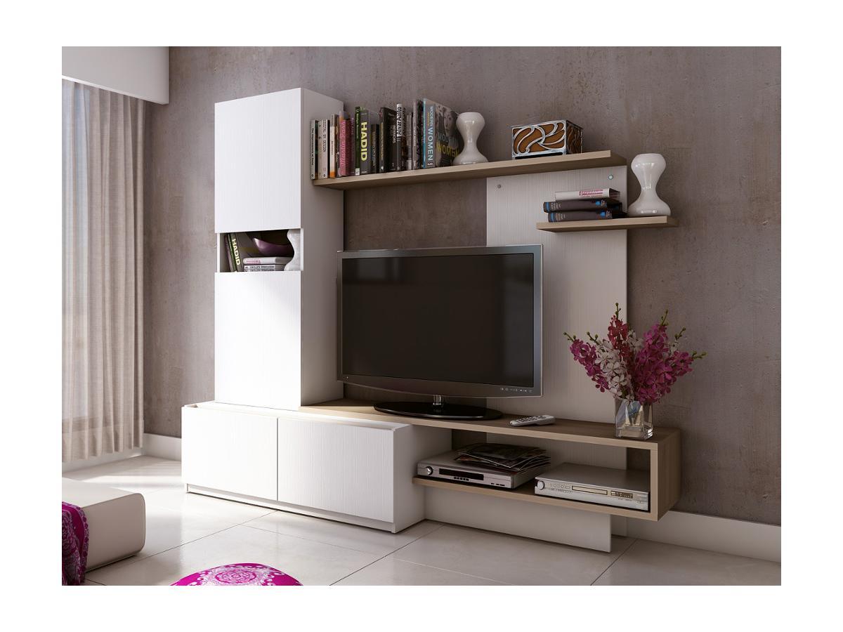 TV-Möbel TV-Wand RODRIGO  - Weiß & Eiche