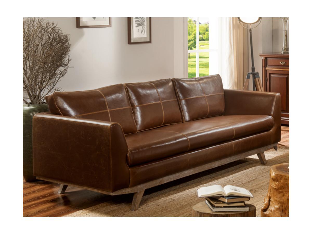 Kauf-Unique Ledersofa Vintage 3-Sitzer ALEGAN - Braun 279235