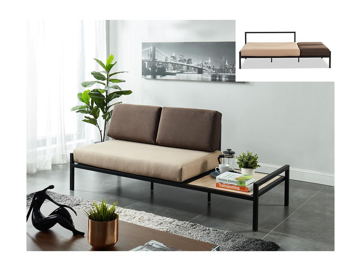 Schlafsofa 2-Sitzer mit Couchtisch BALEA - Stoff - Beige & Grau