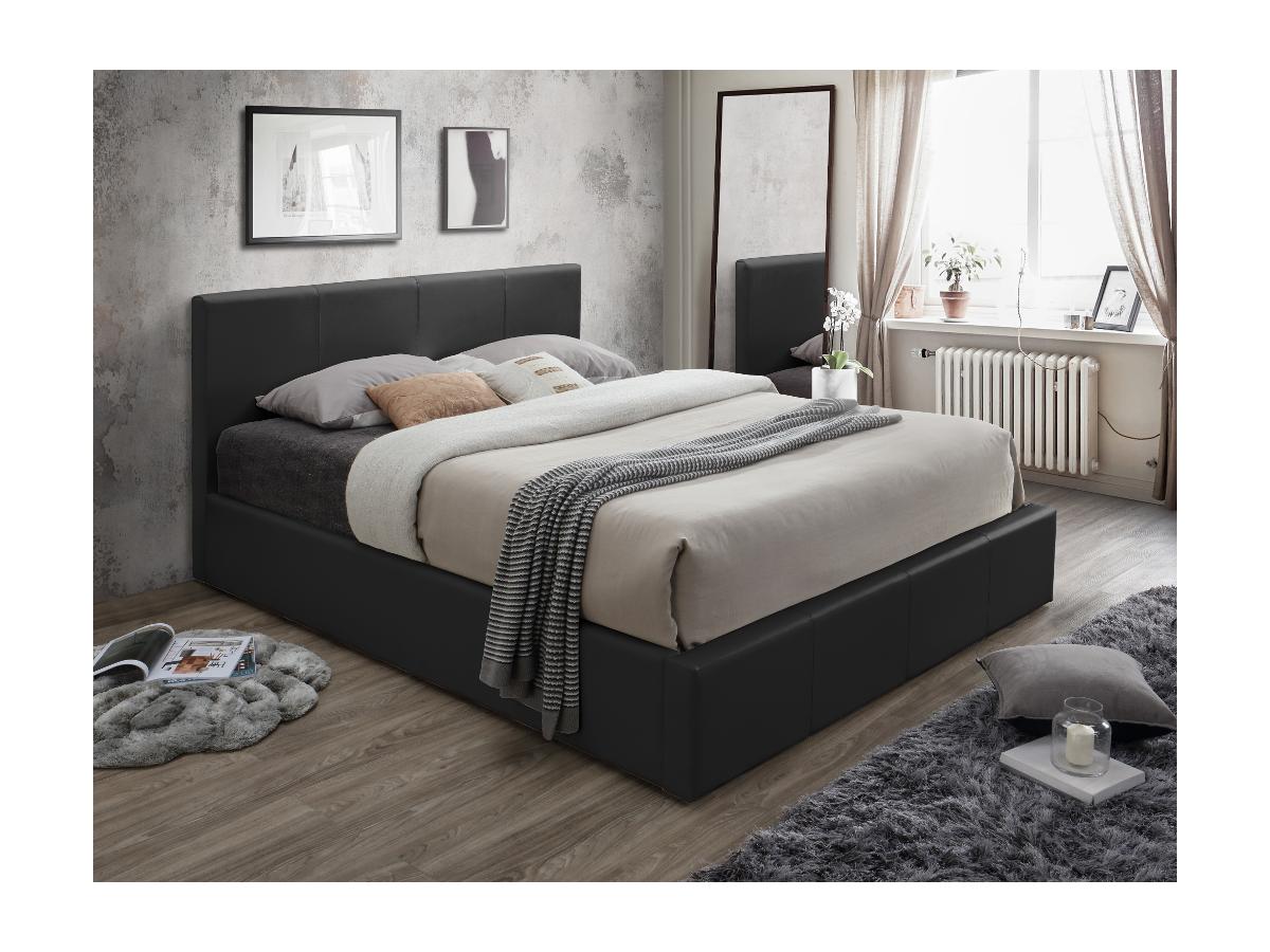 Polsterbett mit Bettkasten TREMPLIN II - 160x200cm - Schwarz