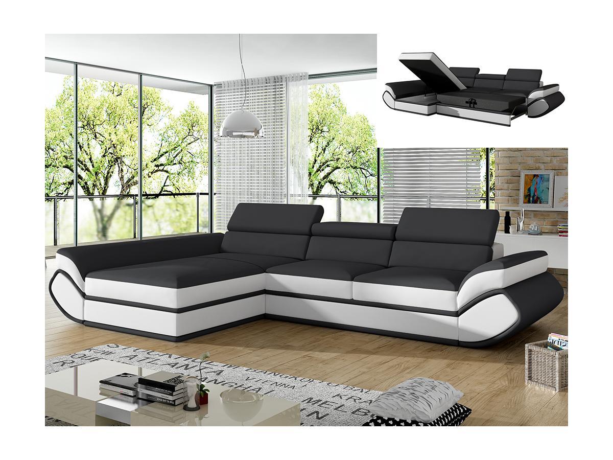 Ecksofa mit Schlaffunktion ORLEANS - Grau & Weiß - Ecke Links