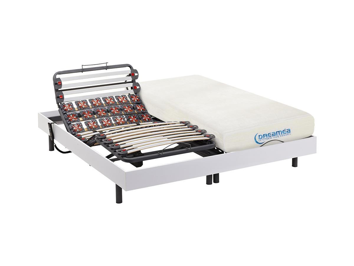 Matratzen elektrischer Lattenrost 2er-Set mit Viscoschaum und Okin-Motor DIONYSOS von DREAMEA - Weiß - 2x90x200cm