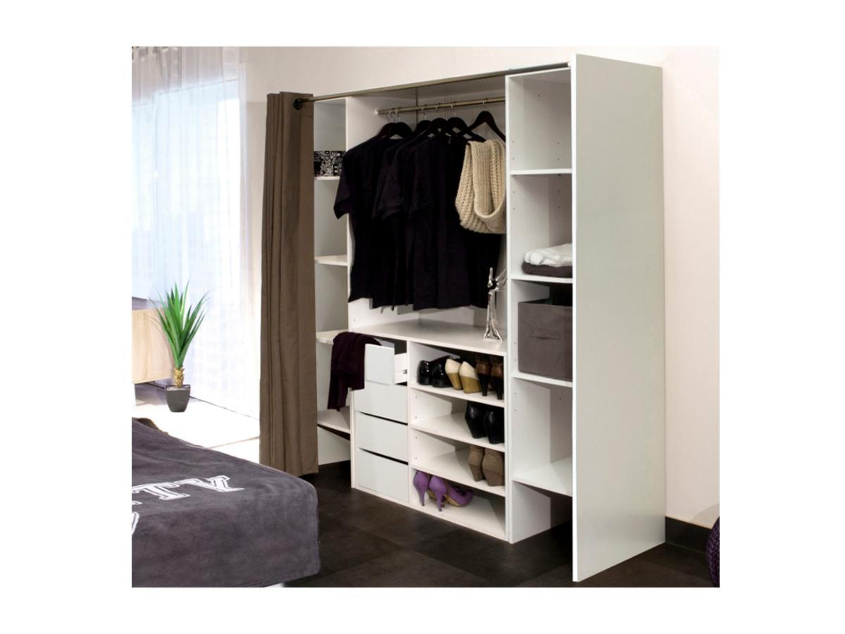 Kauf-Unique Sparset: Kleiderschranksystem mit Kommode EMERIC - Weiß & Taupe 286241