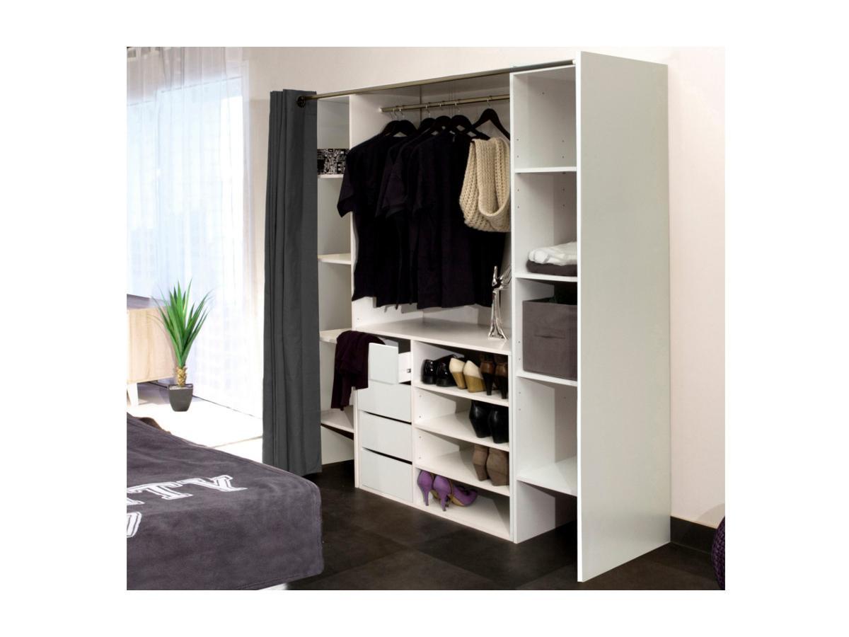Kauf-Unique Sparset: Kleiderschranksystem mit Kommode EMERIC - Weiß & Anthrazit 286247