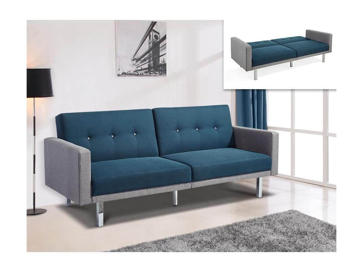 Schlafsofa 3-Sitzer CALDER - Stoff - Blau & Grau
