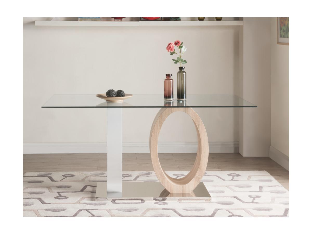 Esstisch Glas AYANE - Eichenholzfarben/Weiß