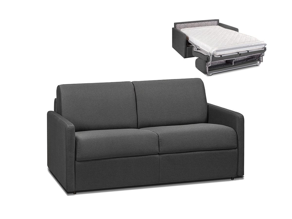Schlafsofa 2-Sitzer CALIFE - Stoff - Grau - Liegefläche: 120 cm - Matratzenhöhe: 14cm
