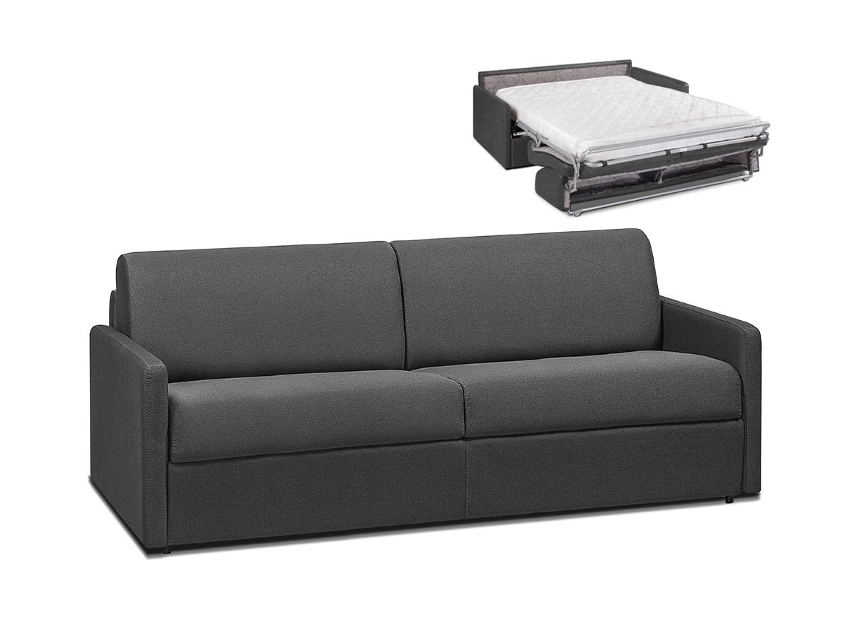 Schlafsofa 4-Sitzer CALIFE - Stoff - Grau - Liegefläche: 160 cm - Matratzenhöhe: 14cm