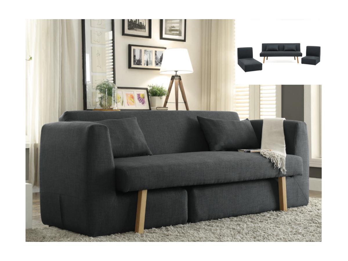 Schlafsofa 3-Sitzer modulierbar SINIBA - Stoff - Anthrazit