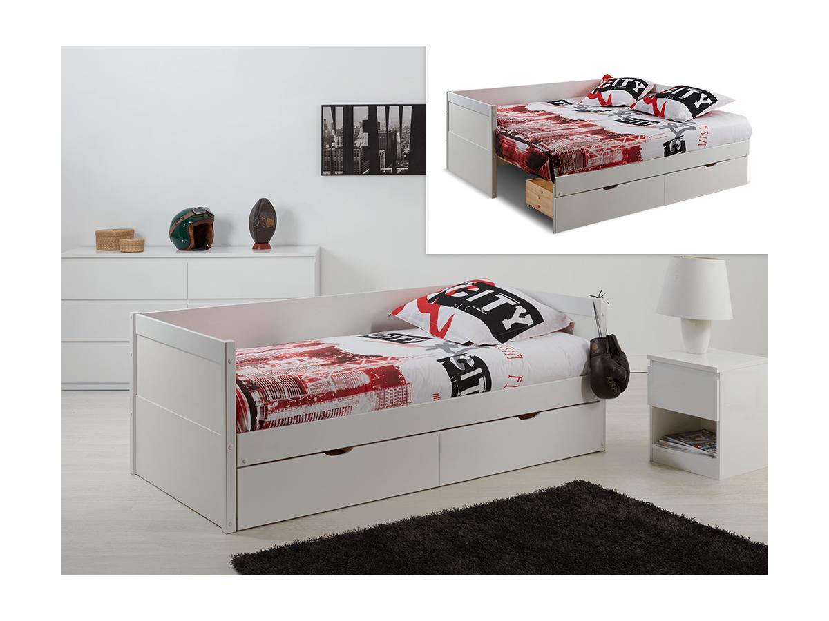 Kauf-Unique Ausziehbett mit Bettkasten ALFIERO + Lattenrost - 90x190cm 356847
