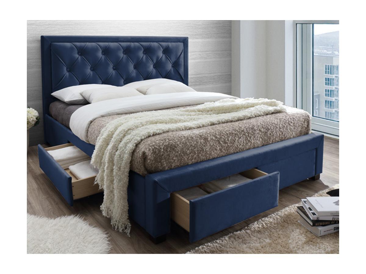 Polsterbett mit Lattenrost und Stauraum Samt LEOPOLD - 160x200cm - Blau