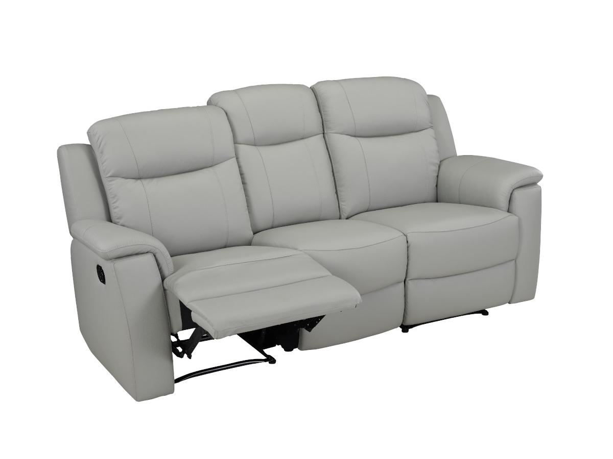 Relaxsofa Leder 3-Sitzer Evasion - Hellgrau