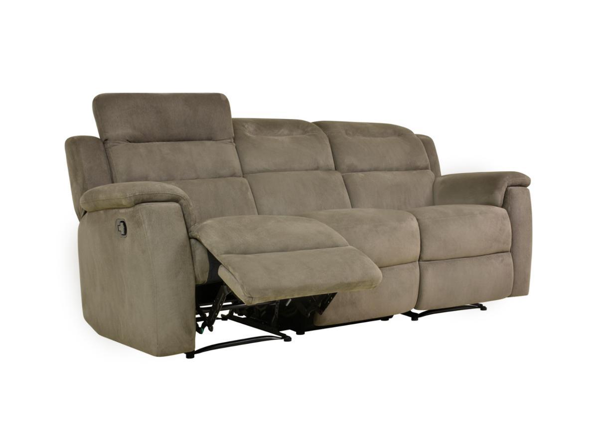 Relaxsofa Microfaser 3-Sitzer SIMONO - Taupe