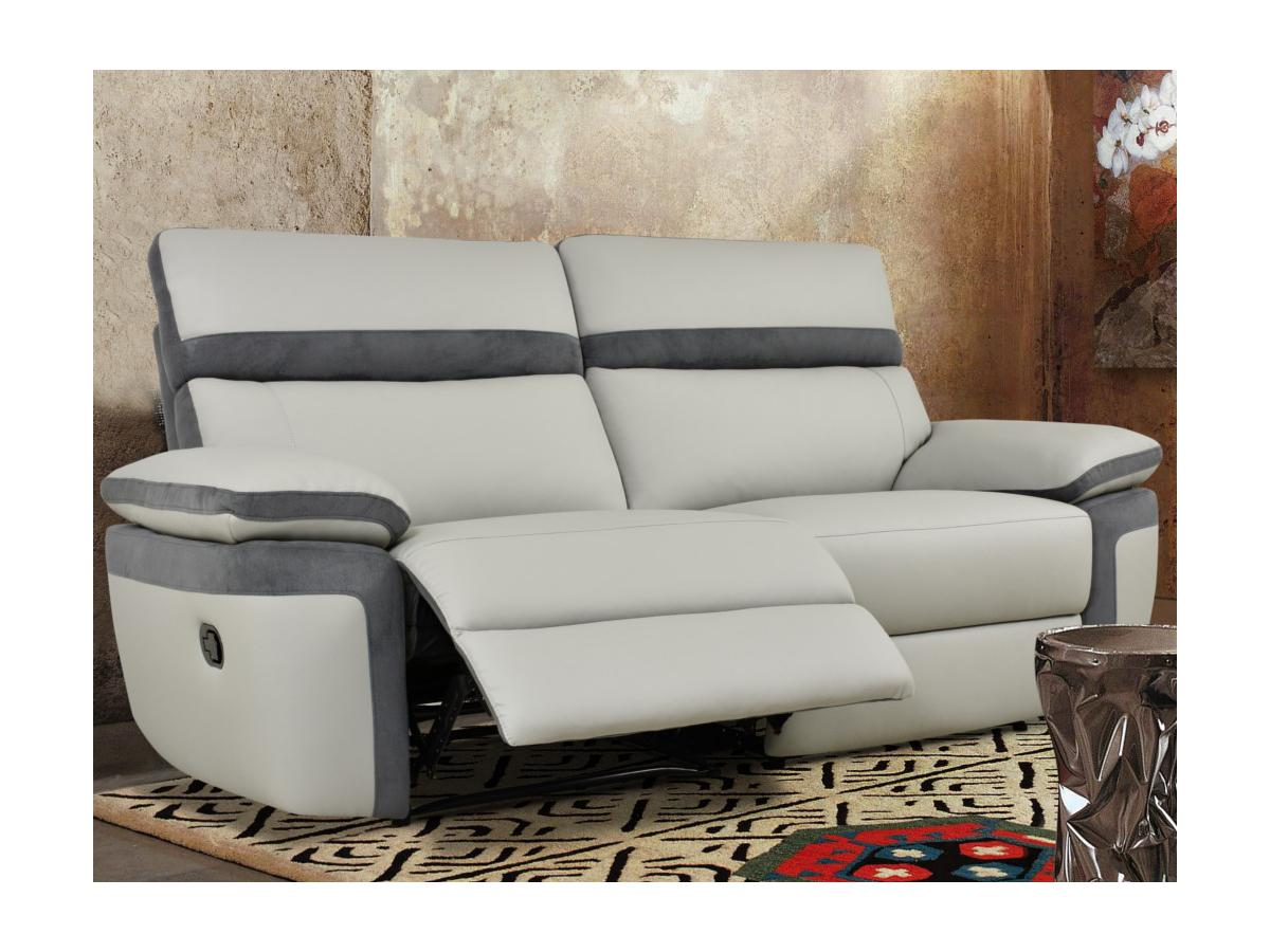 Relaxsofa Microfaser 3-Sitzer MERCUTIO - Hellgrau