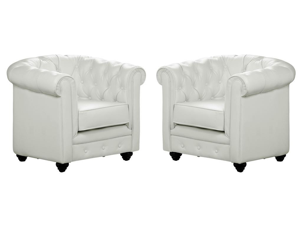 Kauf-Unique Sessel 2er-Set CHESTERFIELD - Weiß 366729