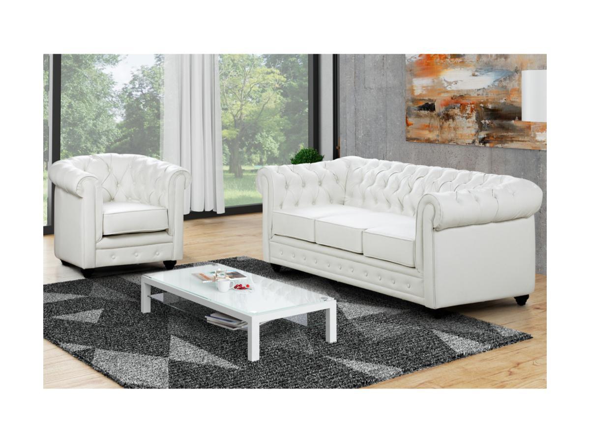 Kauf-Unique Couchgarnitur 3+1 CHESTERFIELD - Weiß 366737