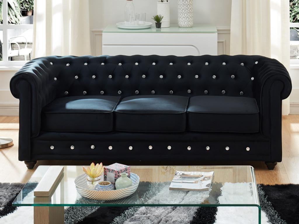 Kauf-unique 3-Sitzer-Sofa Chesterfield Samt ANNA - Schwarz mit Kristallknöpfen 372313