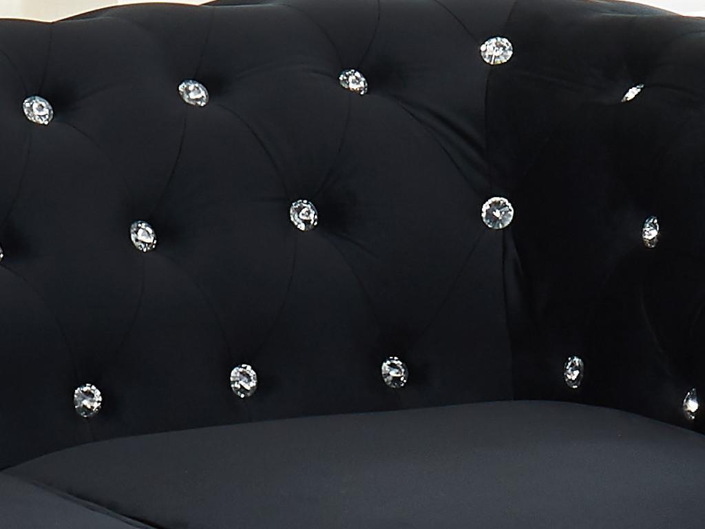 Kauf-unique Chesterfield Sessel Samt ANNA - Schwarz mit Kristallknöpfen 372309