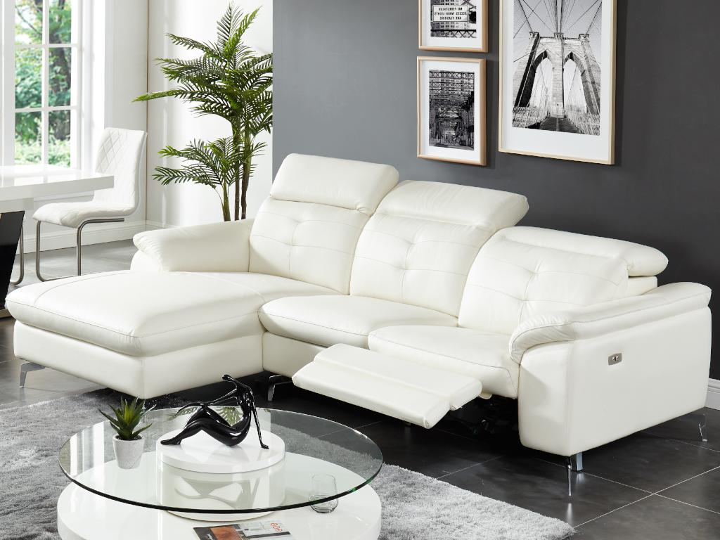 Kauf-Unique Relaxsofa Ecksofa Leder LISMORE - Weiß - Ecke Links 427855